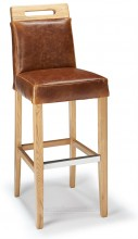 Modena Bar Stool Tan Aniline Leather & Rustic Oak
