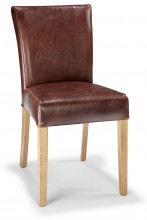 Pranzo Dining Chair Brown Aniline Leather & Rustic Oak