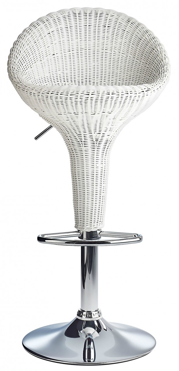 Rattan bar stool white for Rattan barhocker