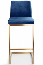 Ark Gold Bar Stool Navy Velvet