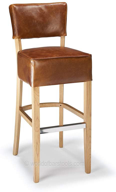 Genova Bar Stool Tan Aniline Leather Amp Rustic Oak