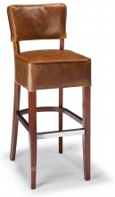Genova Bar Stool Tan Aniline Leather & Walnut