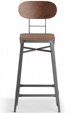 Farmhouse Bar Stool Grey And Walnut