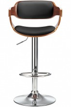 Logan Bar Stool Black & Walnut